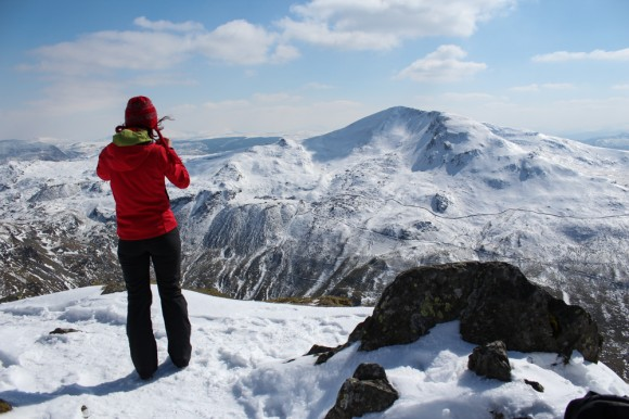 Gina looking over towards Moelwyn Mawr
