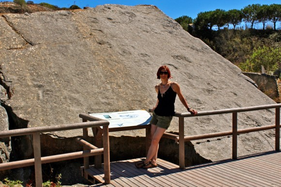 Gina & the fossilised Dinosaur footprints