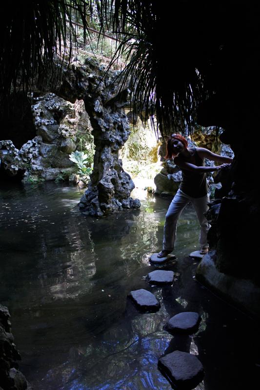 Gina navigating a cave