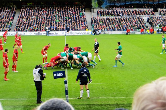 Live rugby action