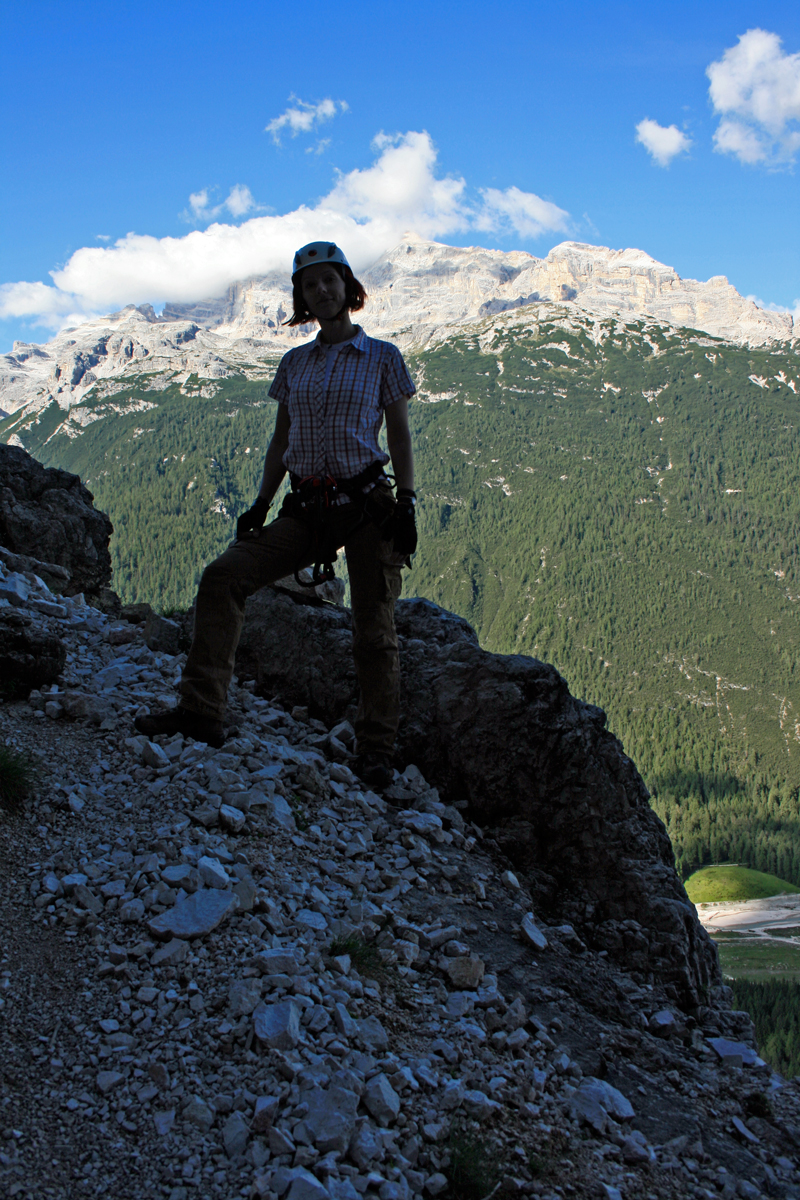 Gina at the start of Via Ferrata Michielli Strobel