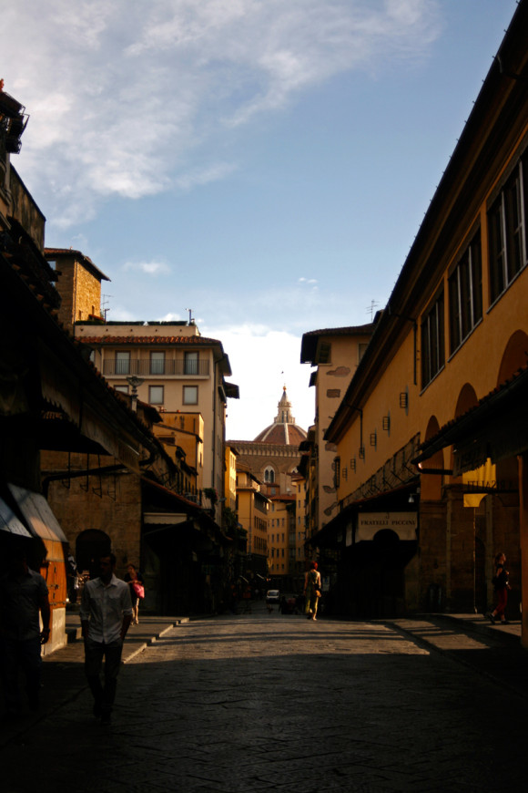 Gina walking along Ponte Vecchio