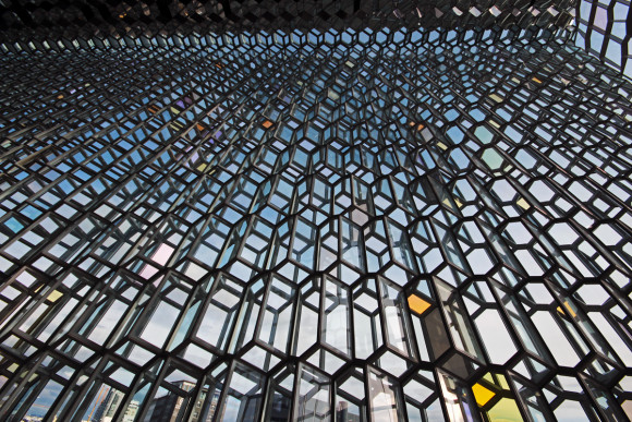 Glass wall at Harpa
