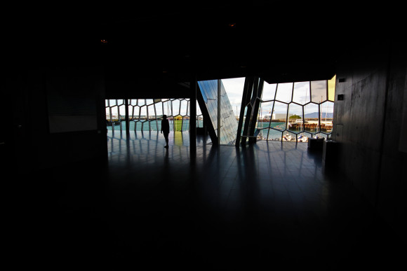 Gina's silhouette at Harpa